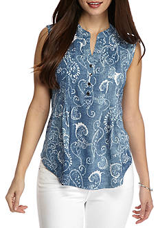 New Directions Petite Printed Henley Top