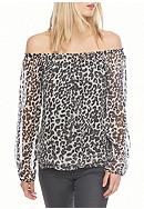 Sanctuary Chantel Leopard Off Shoulder Blouse