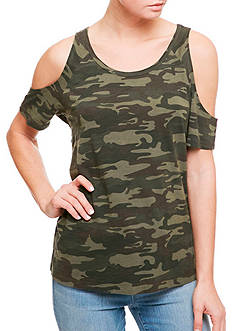 Sanctuary Lou Camo Bare Shoulder Top