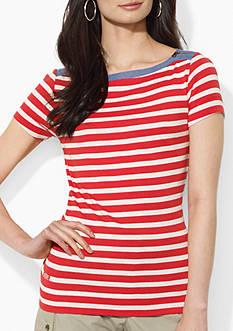 Lauren Jeans Co. Zip-Shoulder Striped Top