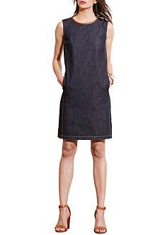 Lauren Jeans Co. Leather-Trim Denim Dress