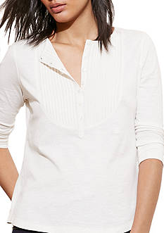 Lauren Jeans Co. Pintucked-Bib Jersey Henley