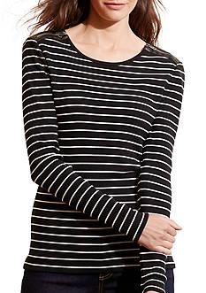 Lauren Jeans Co. Striped Zip-Shoulder Top