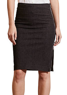 Lauren Ralph Lauren Zip-Front Denim Pencil Skirt