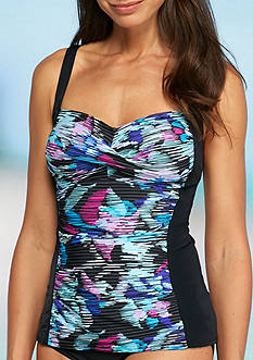 Kim Rogers Veiled Flower Twist Bra Tankini Swim Top