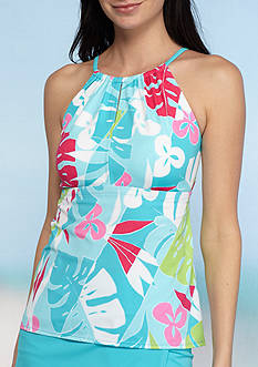 Kim Rogers Havana Palm Keyhole High Neck Tankini Swim Top