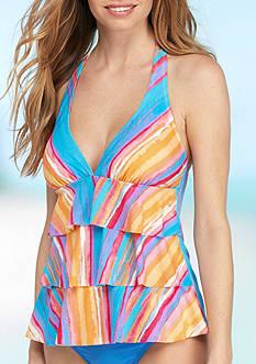 Kim Rogers Seascape Triple Ruffle Tankini Swim Top