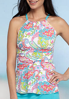 Kim Rogers Private Island Paisley High Neck Peplum Tankini Swim Top