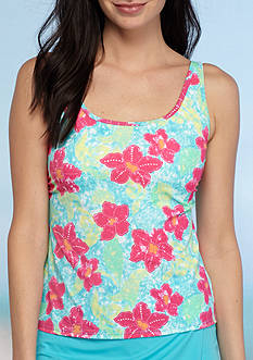Kim Rogers Floating Flower Sport Tankini Swim Top