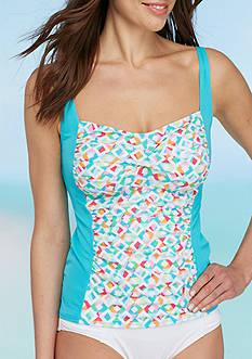 Kim Rogers Boardwalk Mosaic Twist Bra Tankini Swim Top