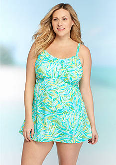 Kim Rogers® Plus Size Watercolor Palm Swimdress