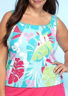 Kim Rogers Plus Size Havana Palm Sport Tankini Swim Top