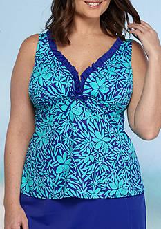 Kim Rogers Plus Size Tossed Petal Ruffle Neck Tankini Swim Top