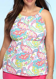 Kim Rogers Plus Size Private Island Paisley Slit Hi-Neck Tankini Swim Top