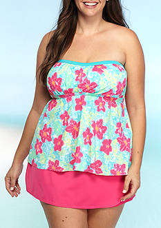 Kim Rogers Plus Size Floating Flower Fly Away Bandeaukini Swim Top