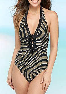 MICHAEL Michael Kors Quincy Zebra Halter One Piece Swimsuit