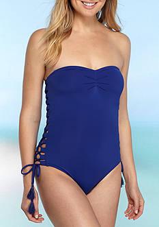 MICHAEL Michael Kors Coastal Solids Lace Up Bandeau One Piece Swimsuit