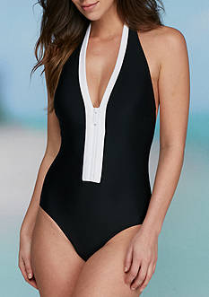 MICHAEL Michael Kors Half Moon Bay Halter One Piece