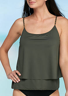 MICHAEL Michael Kors Chain Solids Layered Tankini Swim Top