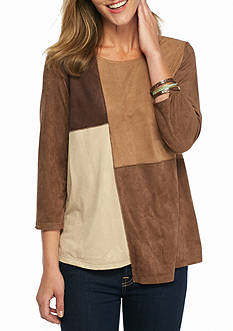 New Directions Faux Suede Colorblock Tunic