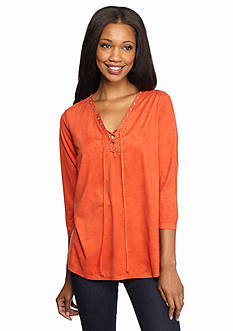 New Directions Faux Suede Lace-Up Top