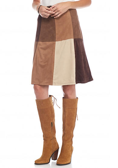 New Directions® Faux Suede Colorblock Skirt