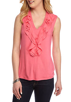 New Directions® Sleeveless Ruffle Front Top