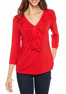 New Directions Ruffle Front Knit Top
