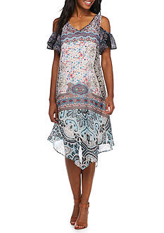 New Directions Cold Shoulder Printed Dress
