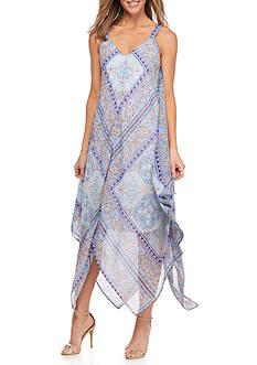 New Directions Printed Hanky Hem Dress