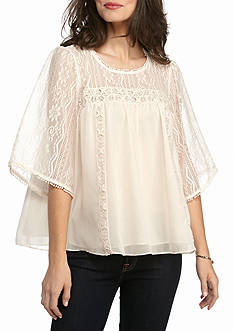 New Directions Lace Trim Chiffon Swing Hem Blouse