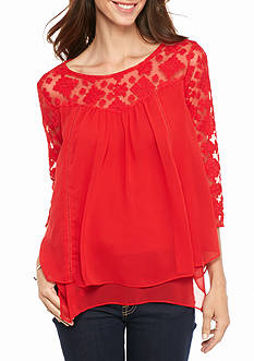 New Directions Tiered Lace Chiffon Blouse