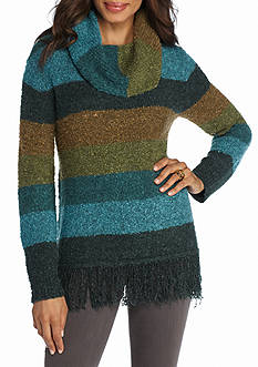 New Directions Boucle Yarn Stripe Fringe Cowl Neck Sweater