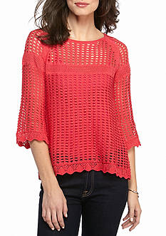 New Directions Waffle Stitch Crochet Top