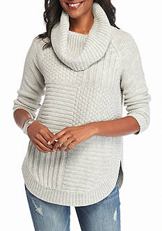 New Directions Mixed Stitch Cowl Neck Sweater