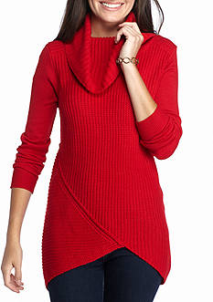 New Directions Cowl Neck Pieced Rib Sweater