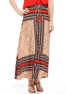 New Directions Printed Button Front Maxi Skirt