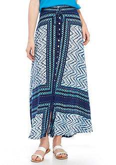 New Directions Button Front Printed Knit Maxi Skirt