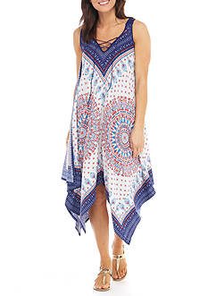 New Directions® Sleeveless Scarf Printed Hanky Hem Dress
