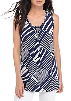 New Directions Sleeveless Striped Flyaway Tank