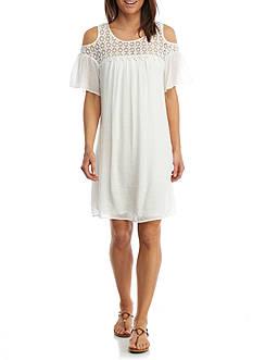 New Directions Cold Shoulder Linen Dress