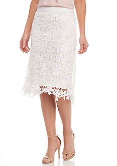 New Directions Starfish Lace Midi Skirt