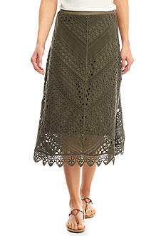 New Directions® Mitered Lace Midi Skirt