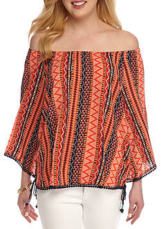 New Directions Printed Lace Trim Blouse