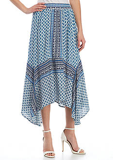 New Directions® Printed Hanky Hem Gauze Skirt