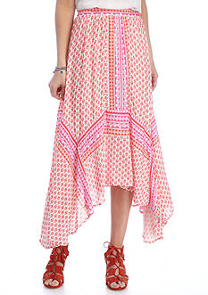 New Directions Twin Print Hanky Hem Skirt