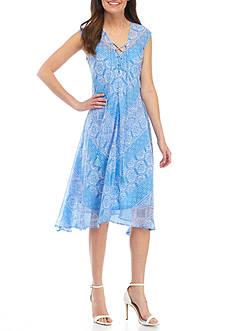 New Directions Sleeveless Medallion Print Tassel Tie Midi Dress