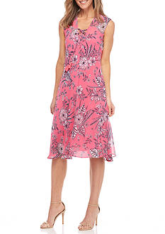 New Directions Floral Printed Lace Up Midi Dress