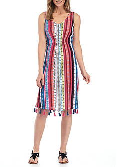 New Directions Sleeveless Tassel Stripe Dress