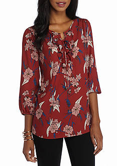 New Directions Floral Print Ruffle Top